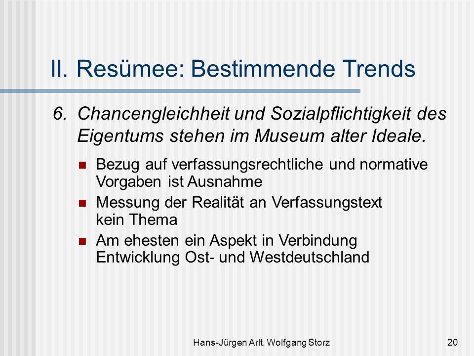 II. Resümee: Bestimmende Trends