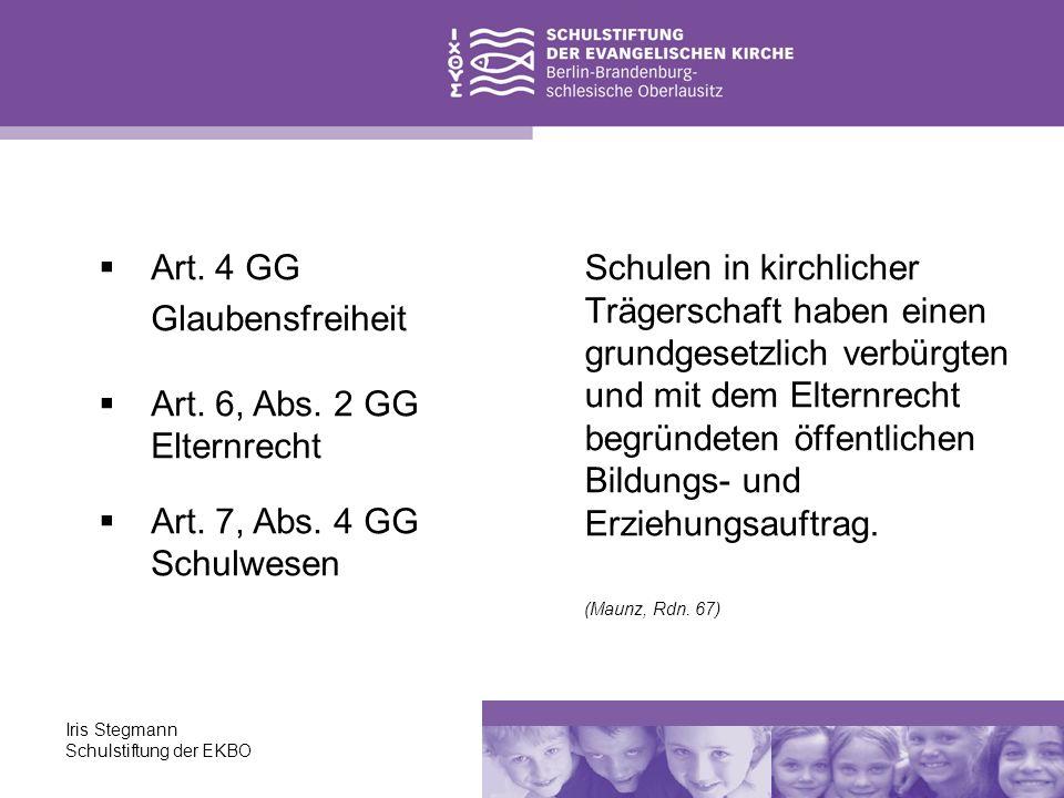 Art. 4 GG Glaubensfreiheit Art. 6, Abs. 2 GG Elternrecht