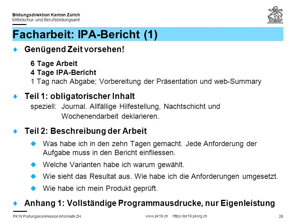 Facharbeit: IPA-Bericht (1)