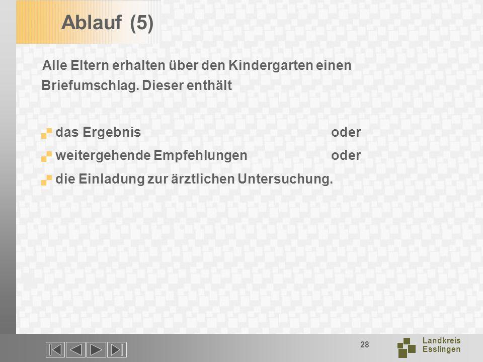 Ablauf (5) Alle Eltern erhalten über den Kindergarten einen Briefumschlag. Dieser enthält. das Ergebnis oder.