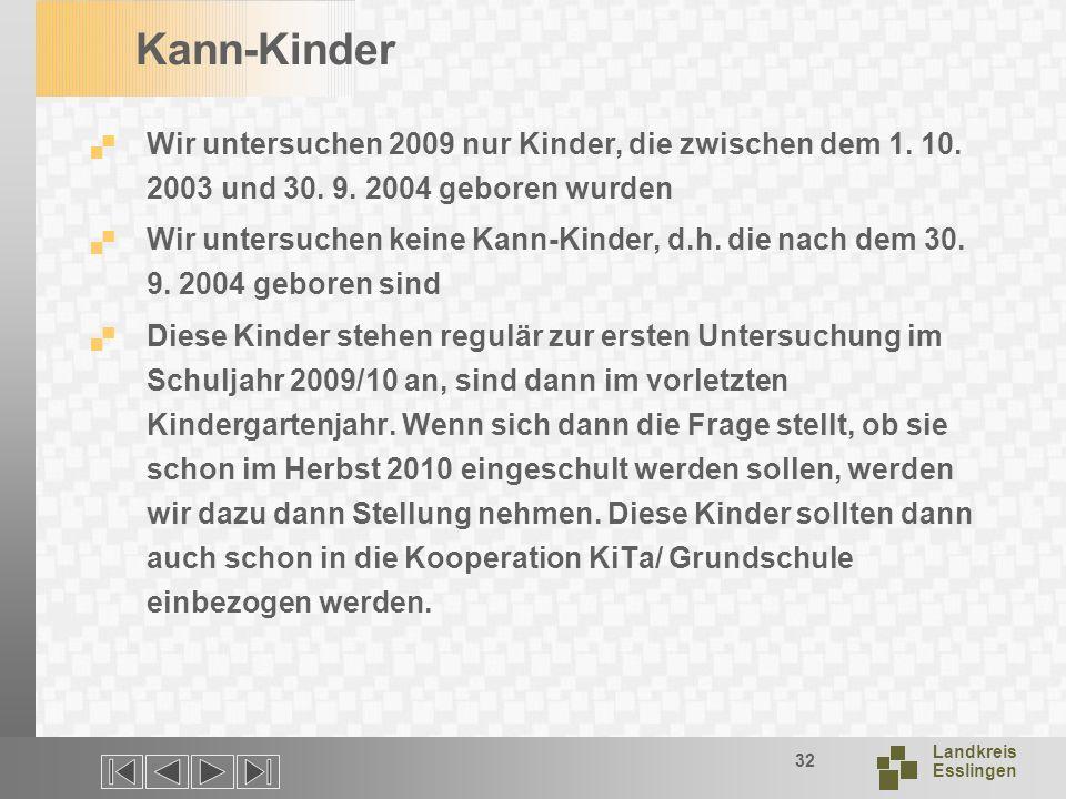 Kann-Kinder Wir untersuchen 2009 nur Kinder, die zwischen dem 1. 10. 2003 und 30. 9. 2004 geboren wurden.