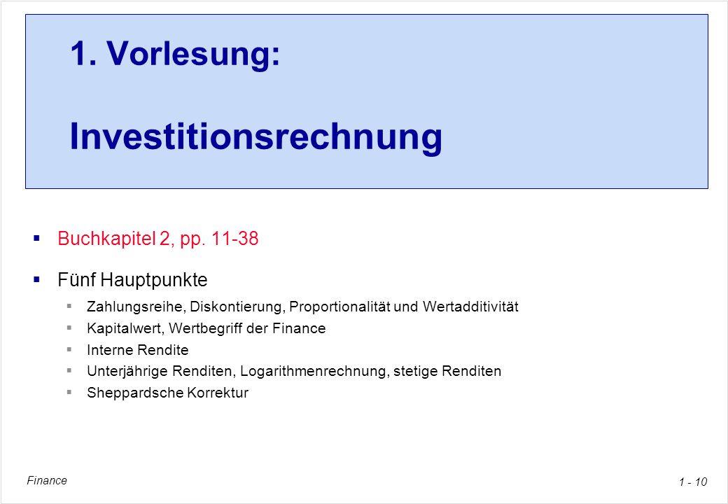 1. Vorlesung: Investitionsrechnung