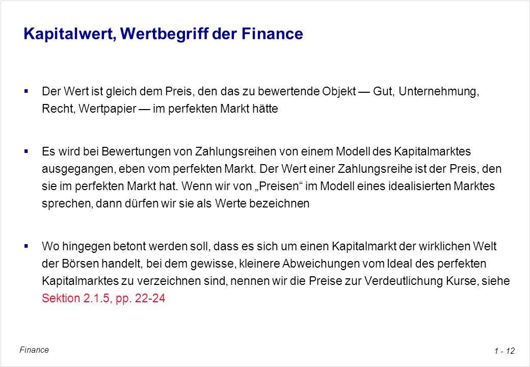 Kapitalwert, Wertbegriff der Finance