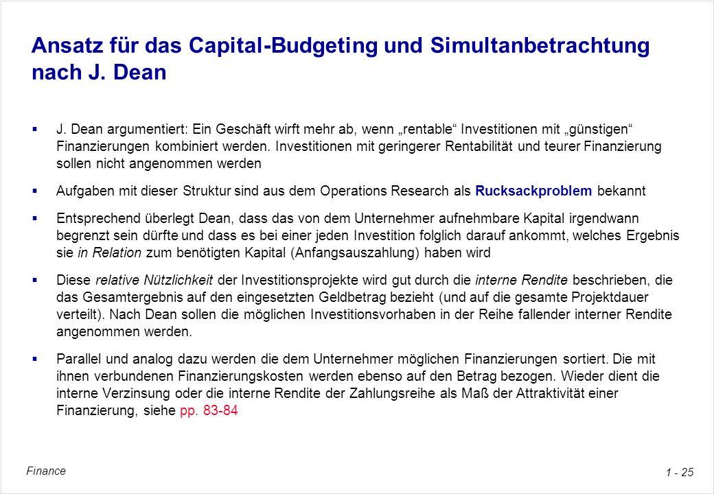 Ansatz für das Capital-Budgeting und Simultanbetrachtung nach J. Dean