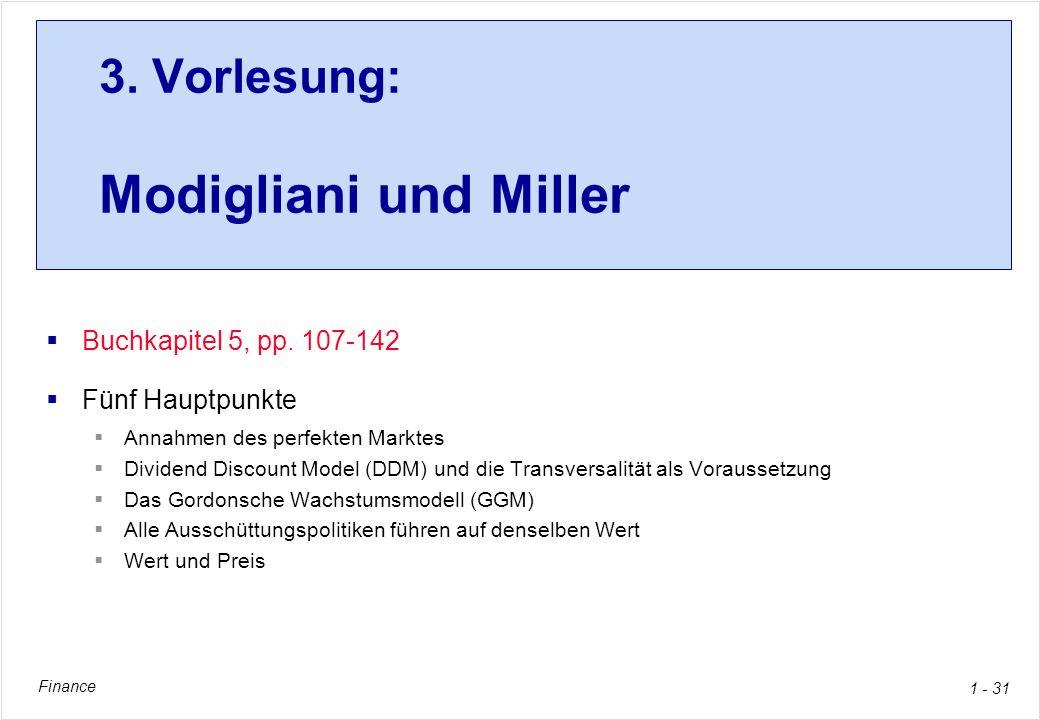 3. Vorlesung: Modigliani und Miller