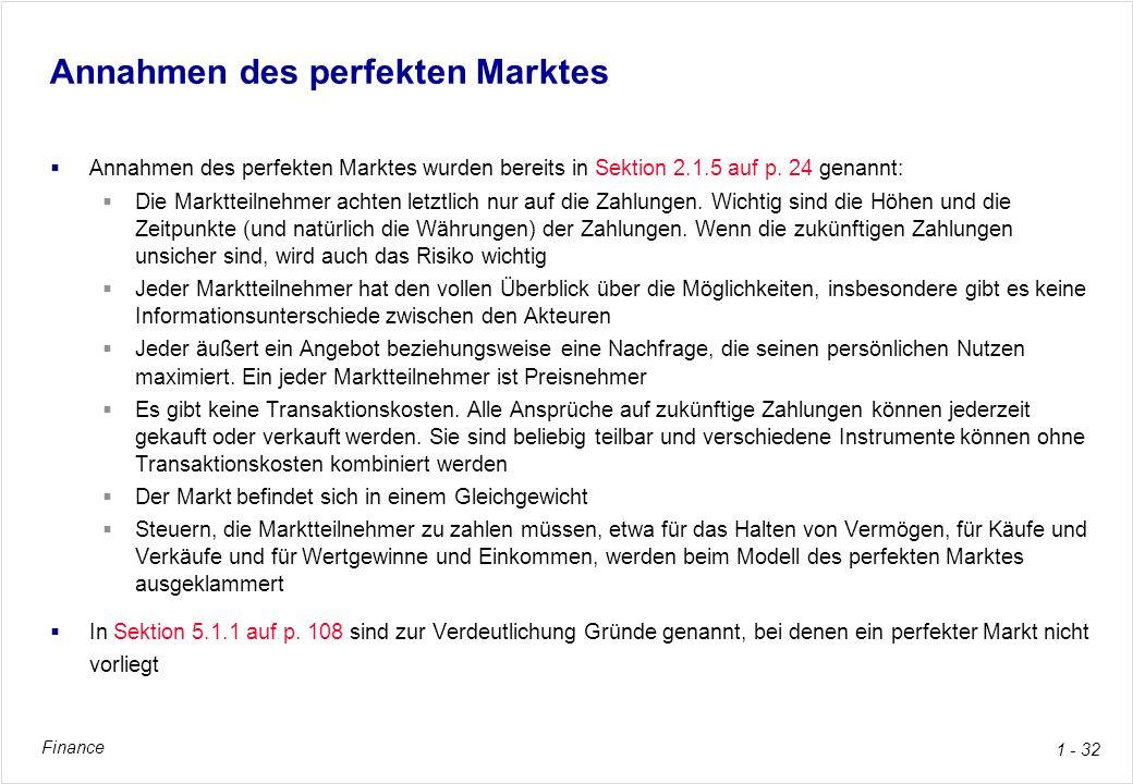 Annahmen des perfekten Marktes