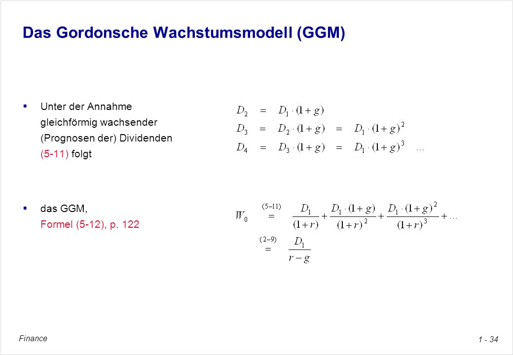 Das Gordonsche Wachstumsmodell (GGM)
