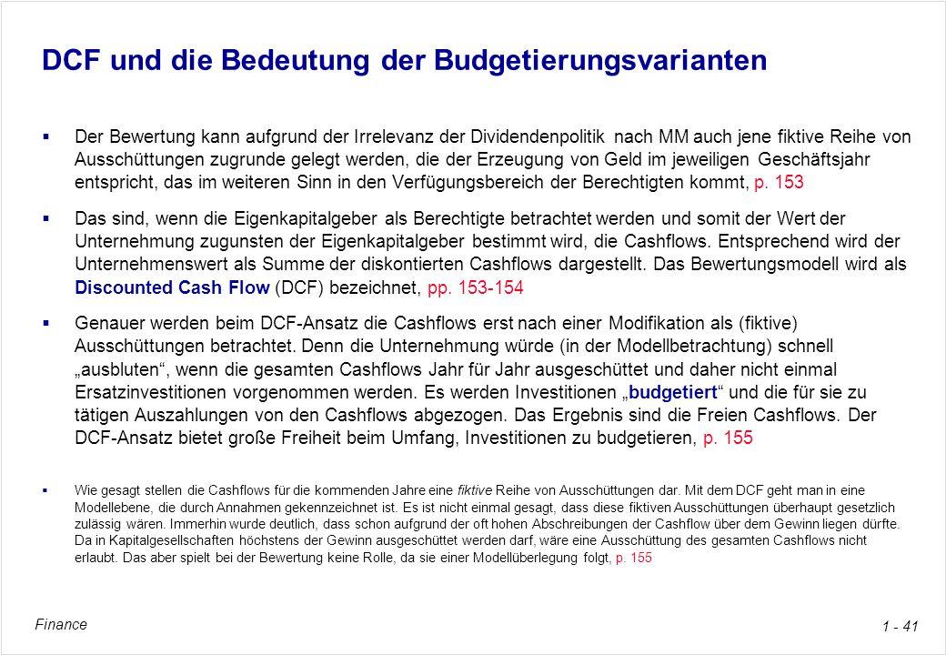 DCF und die Bedeutung der Budgetierungsvarianten