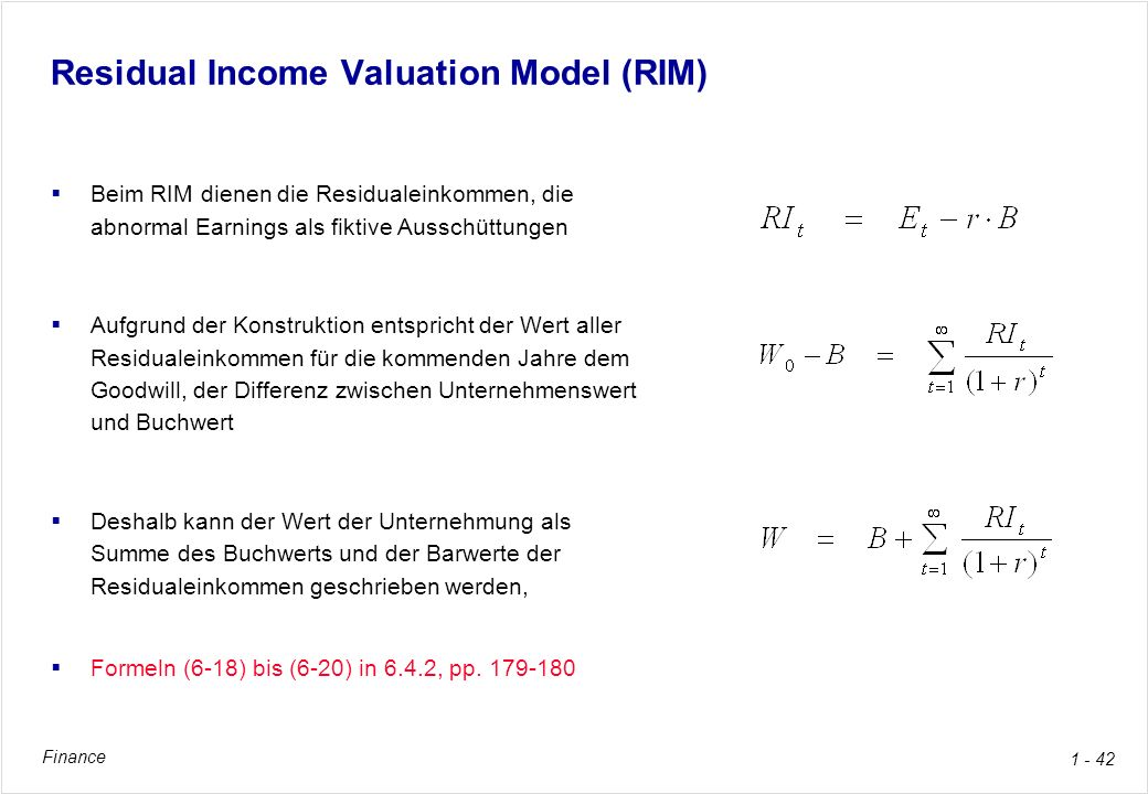 Residual Income Valuation Model (RIM)