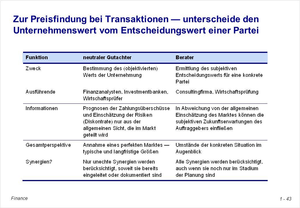 Zur Preisfindung bei Transaktionen — unterscheide den Unternehmenswert vom Entscheidungswert einer Partei