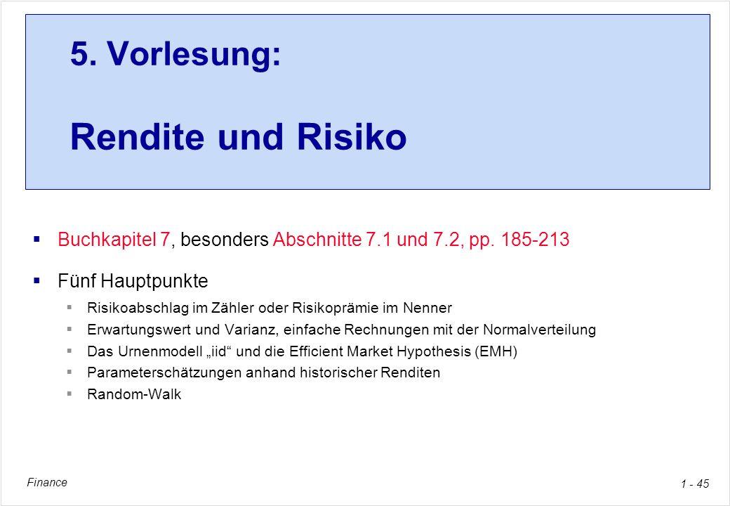 5. Vorlesung: Rendite und Risiko