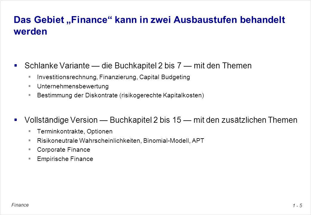 """Das Gebiet """"Finance kann in zwei Ausbaustufen behandelt werden"""