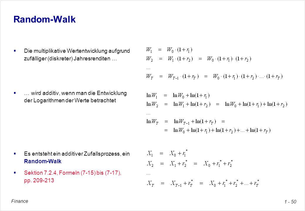 Random-Walk Die multiplikative Wertentwicklung aufgrund zufälliger (diskreter) Jahresrenditen …