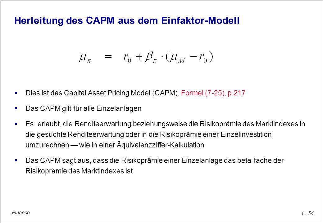Herleitung des CAPM aus dem Einfaktor-Modell