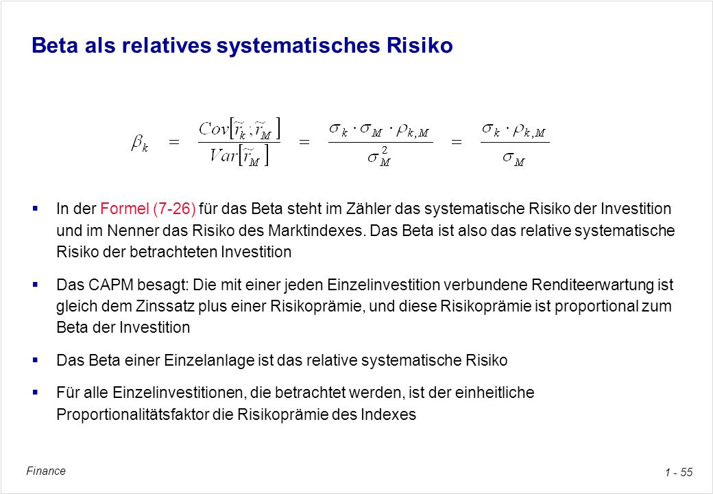 Beta als relatives systematisches Risiko