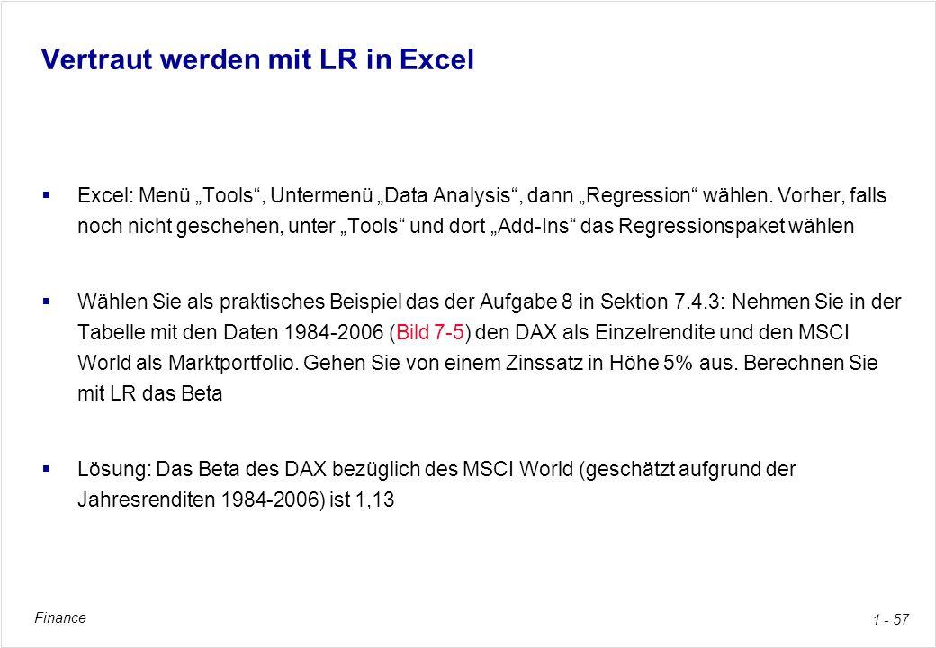 Vertraut werden mit LR in Excel