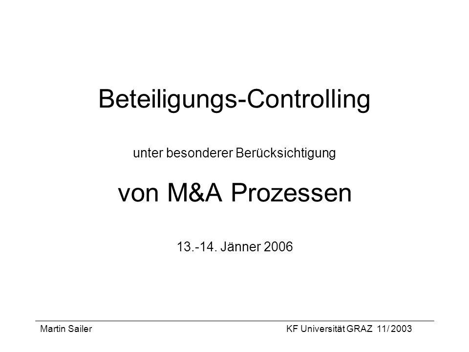 Beteiligungs-Controlling unter besonderer Berücksichtigung von M&A Prozessen 13.-14. Jänner 2006