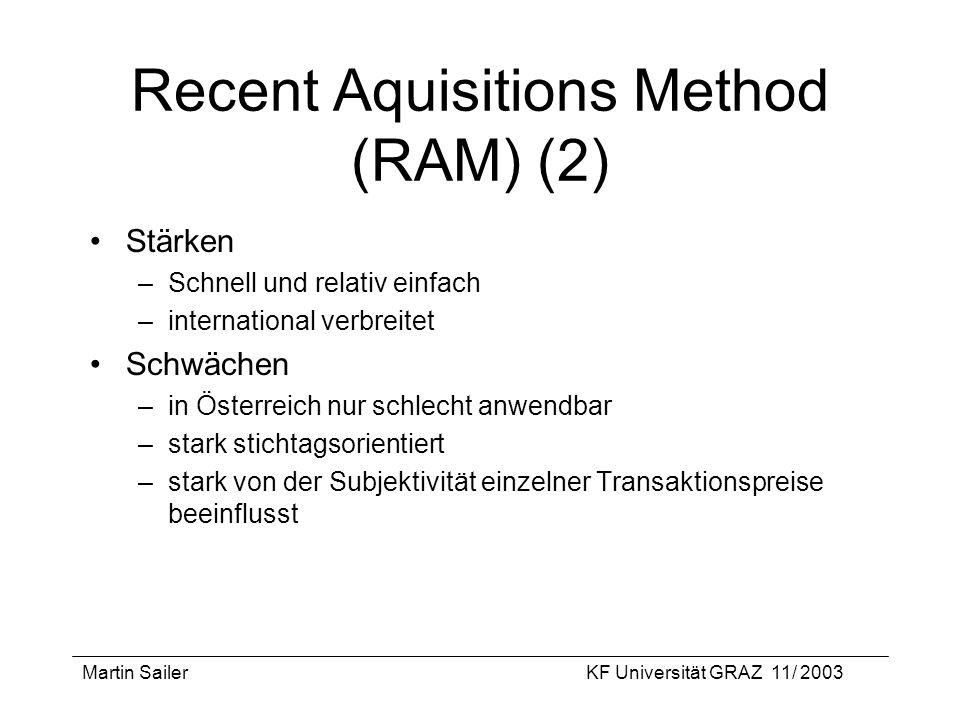 Recent Aquisitions Method (RAM) (2)