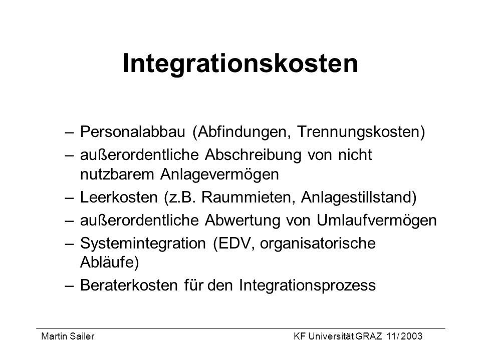 Integrationskosten Personalabbau (Abfindungen, Trennungskosten)