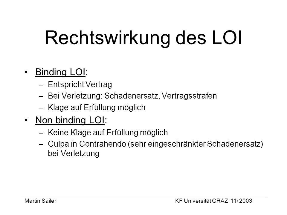 Rechtswirkung des LOI Binding LOI: Non binding LOI: Entspricht Vertrag