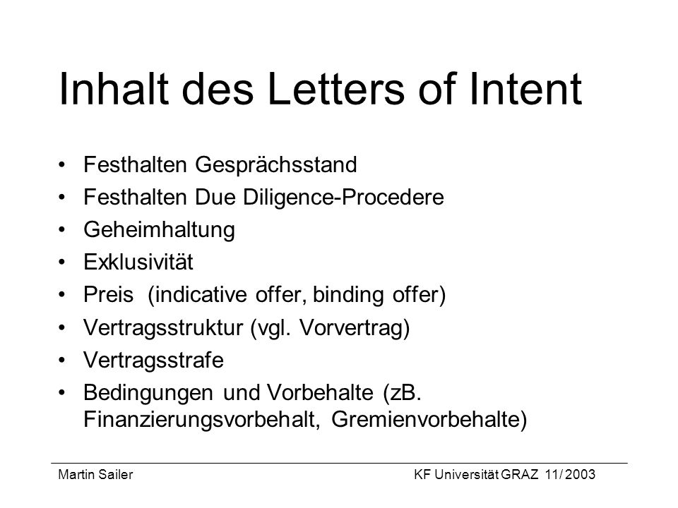 Inhalt des Letters of Intent