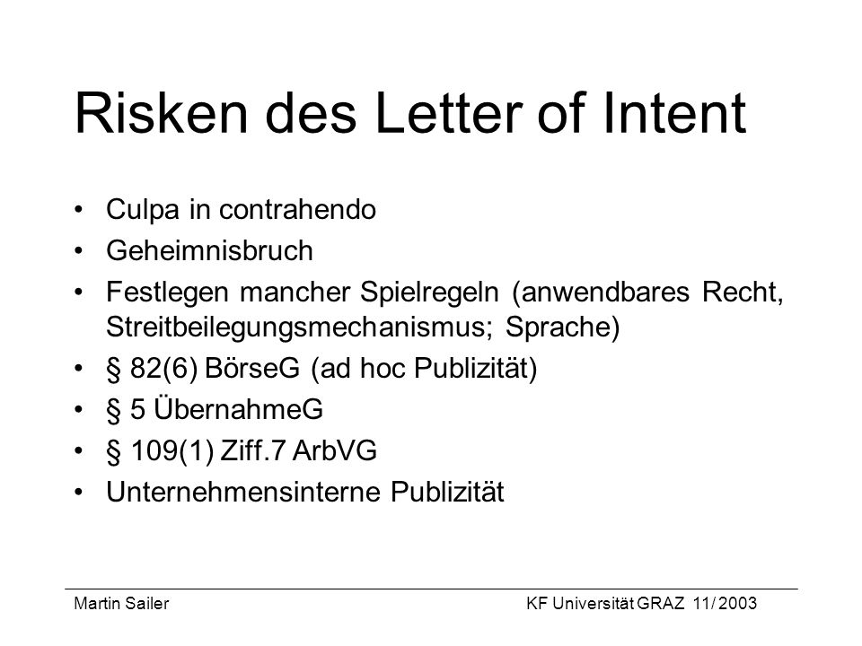 Risken des Letter of Intent