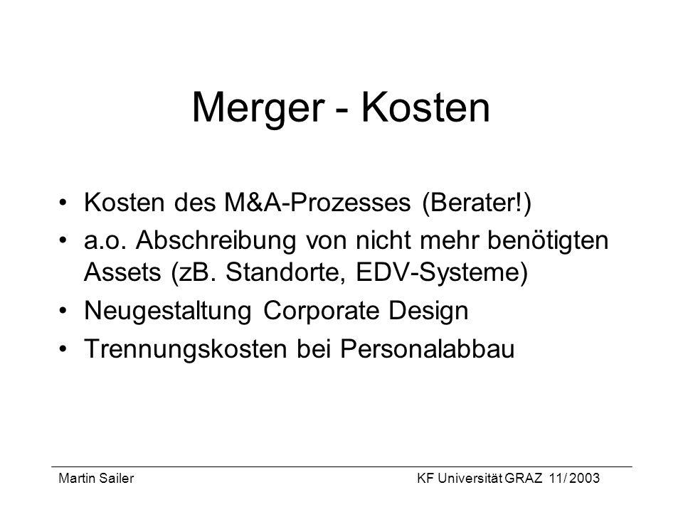 Merger - Kosten Kosten des M&A-Prozesses (Berater!)