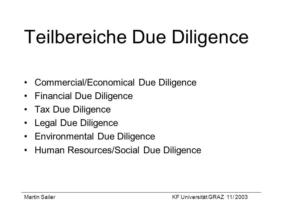 Teilbereiche Due Diligence