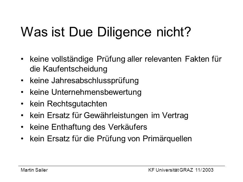 Was ist Due Diligence nicht