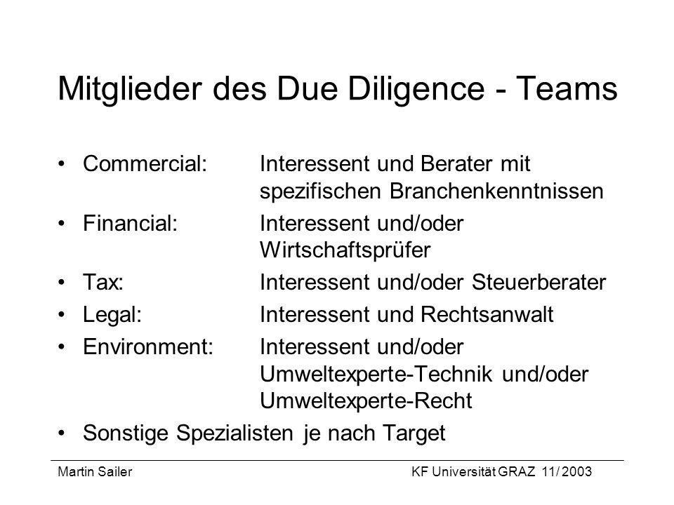 Mitglieder des Due Diligence - Teams
