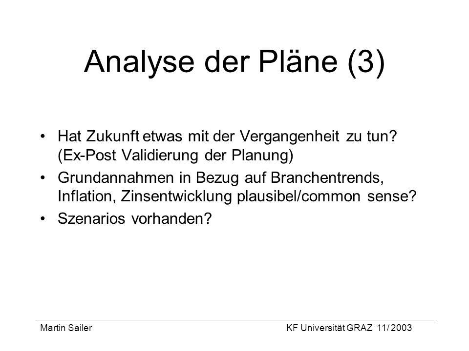 Analyse der Pläne (3) Hat Zukunft etwas mit der Vergangenheit zu tun (Ex-Post Validierung der Planung)