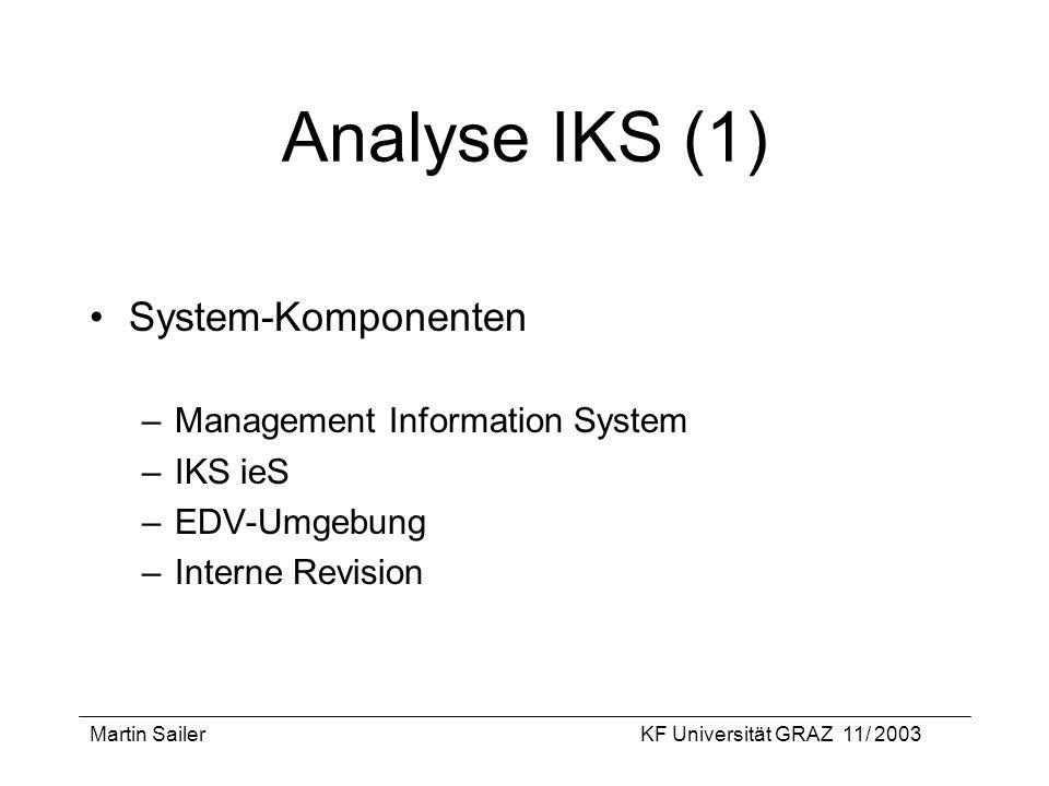 Analyse IKS (1) System-Komponenten Management Information System