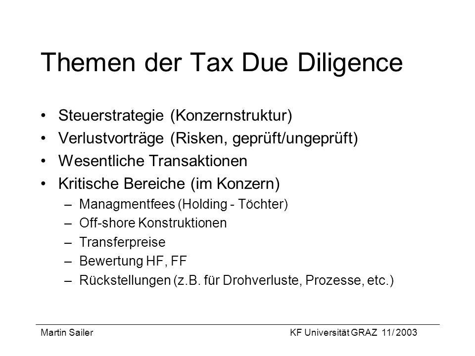 Themen der Tax Due Diligence