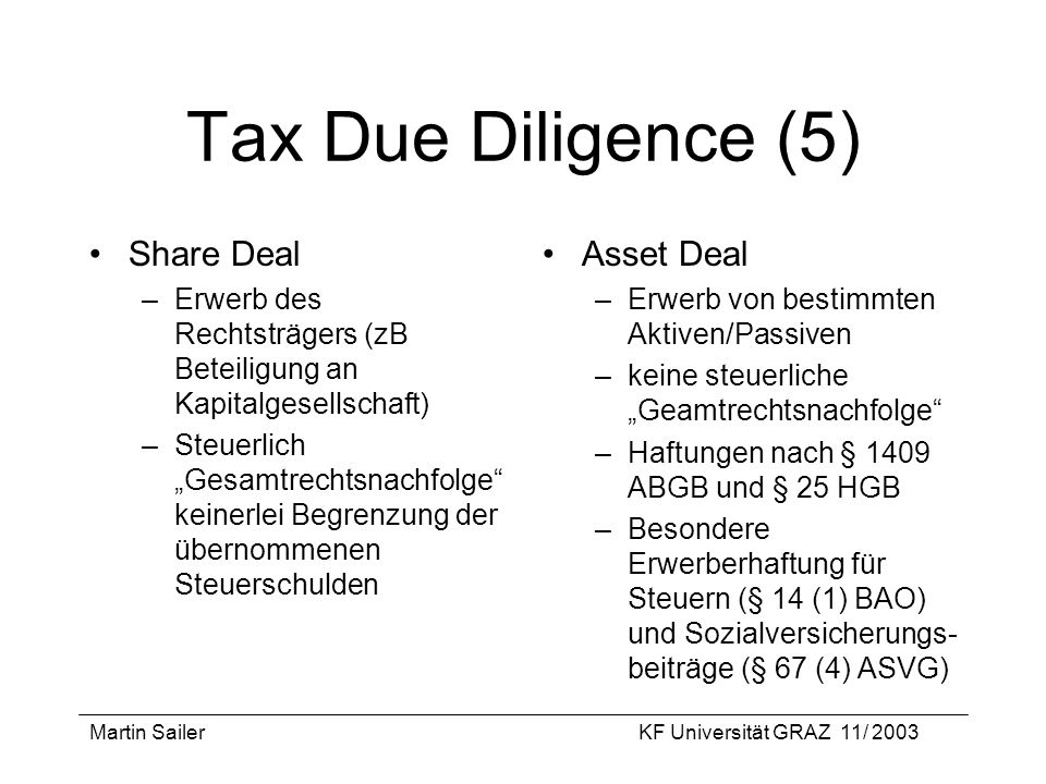 Tax Due Diligence (5) Share Deal Asset Deal