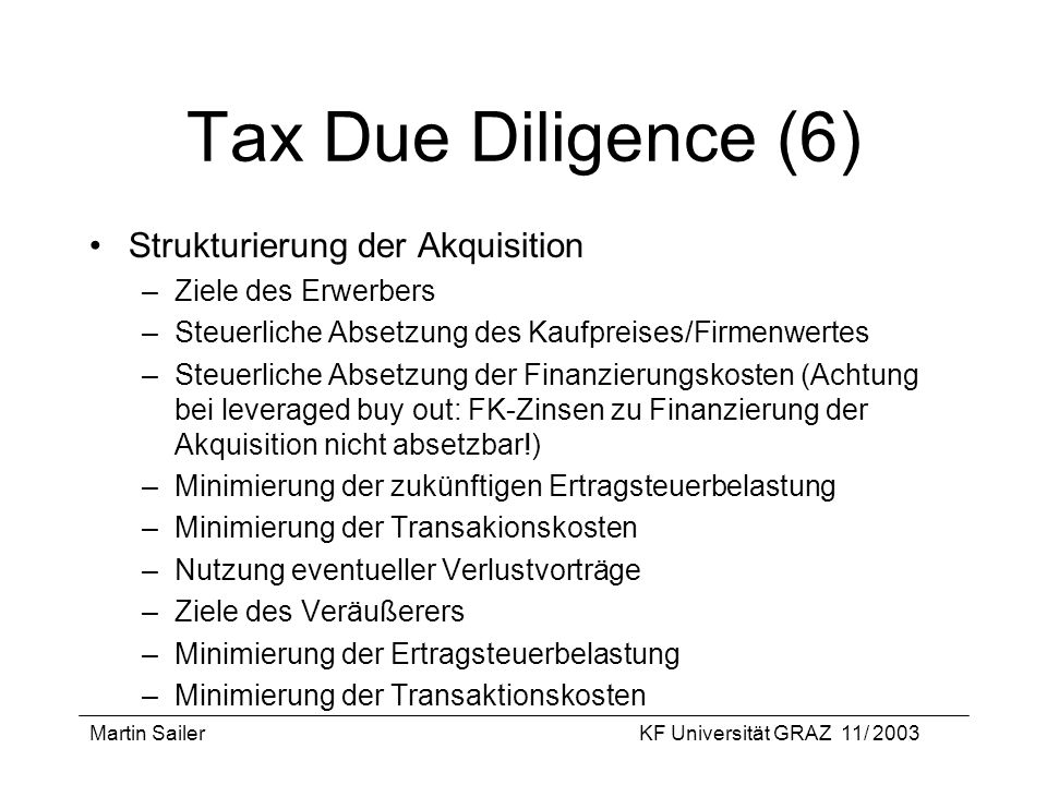 Tax Due Diligence (6) Strukturierung der Akquisition