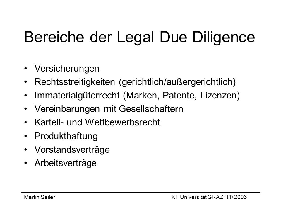 Bereiche der Legal Due Diligence