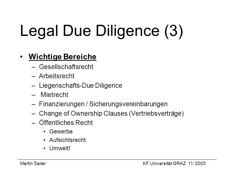 Legal Due Diligence (3) Wichtige Bereiche Gesellschaftsrecht