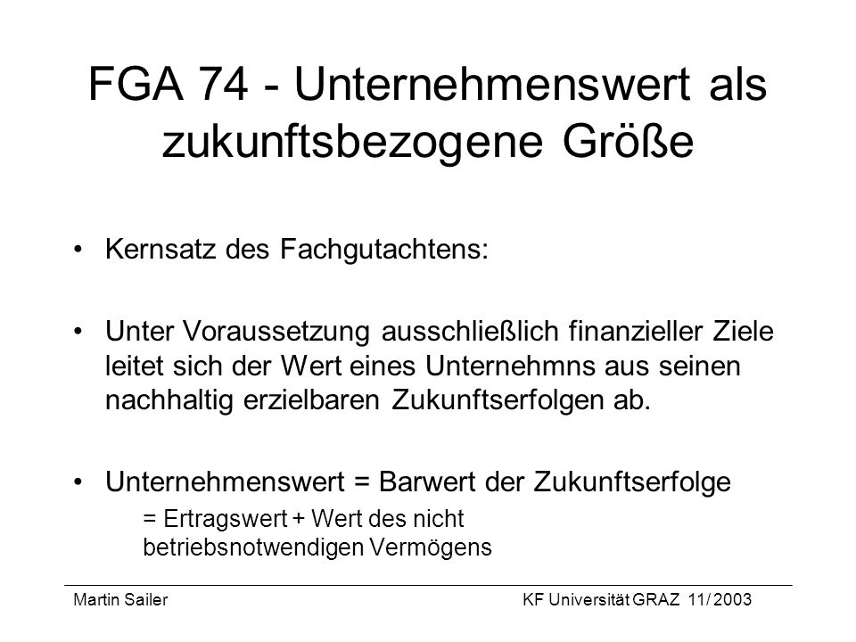 FGA 74 - Unternehmenswert als zukunftsbezogene Größe