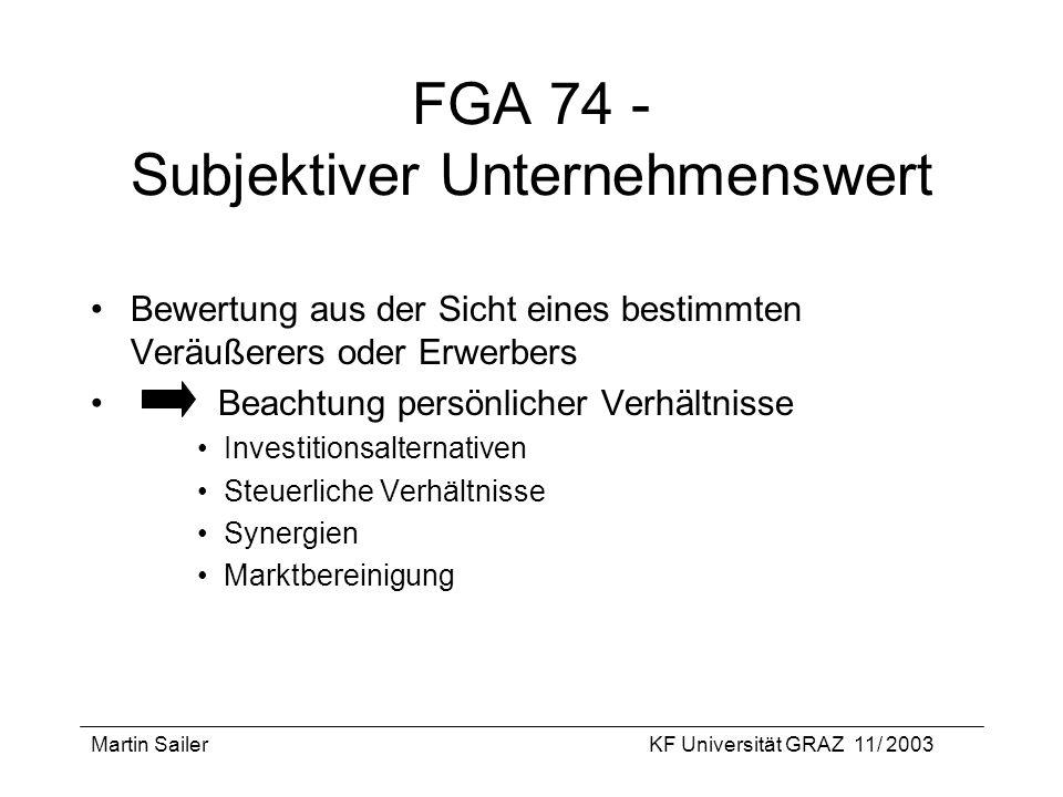 FGA 74 - Subjektiver Unternehmenswert