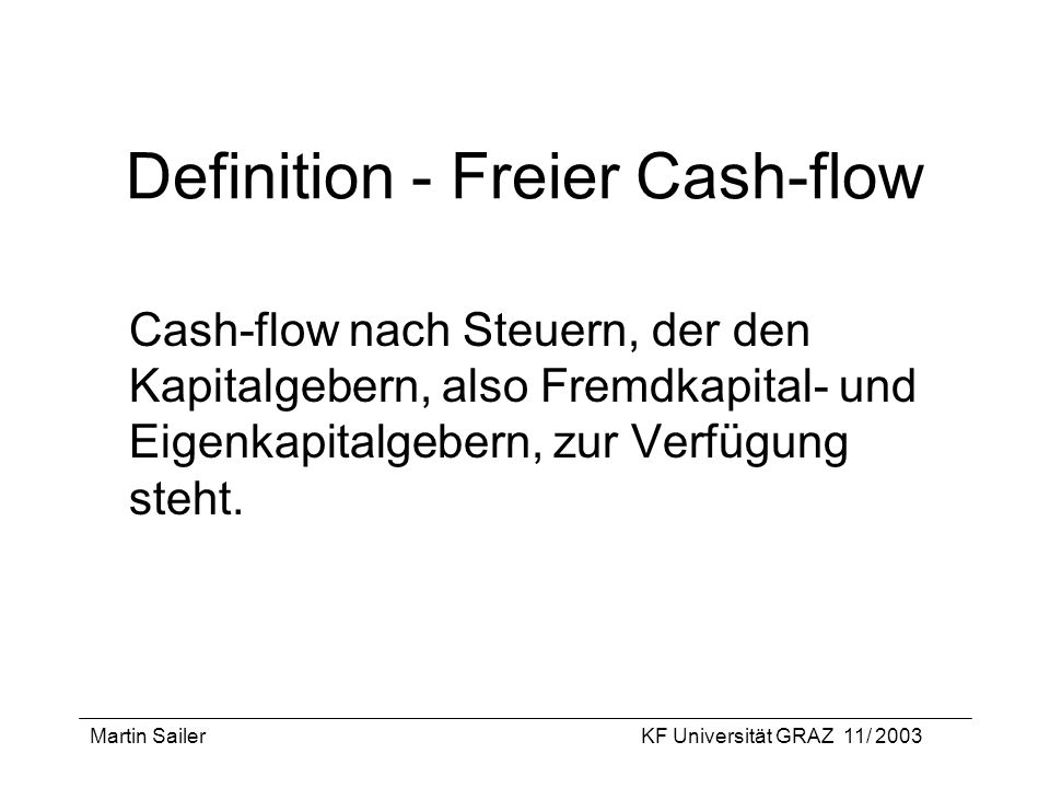Definition - Freier Cash-flow