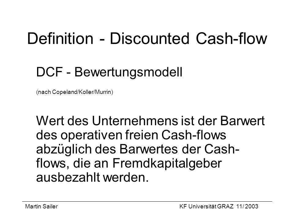 Definition - Discounted Cash-flow