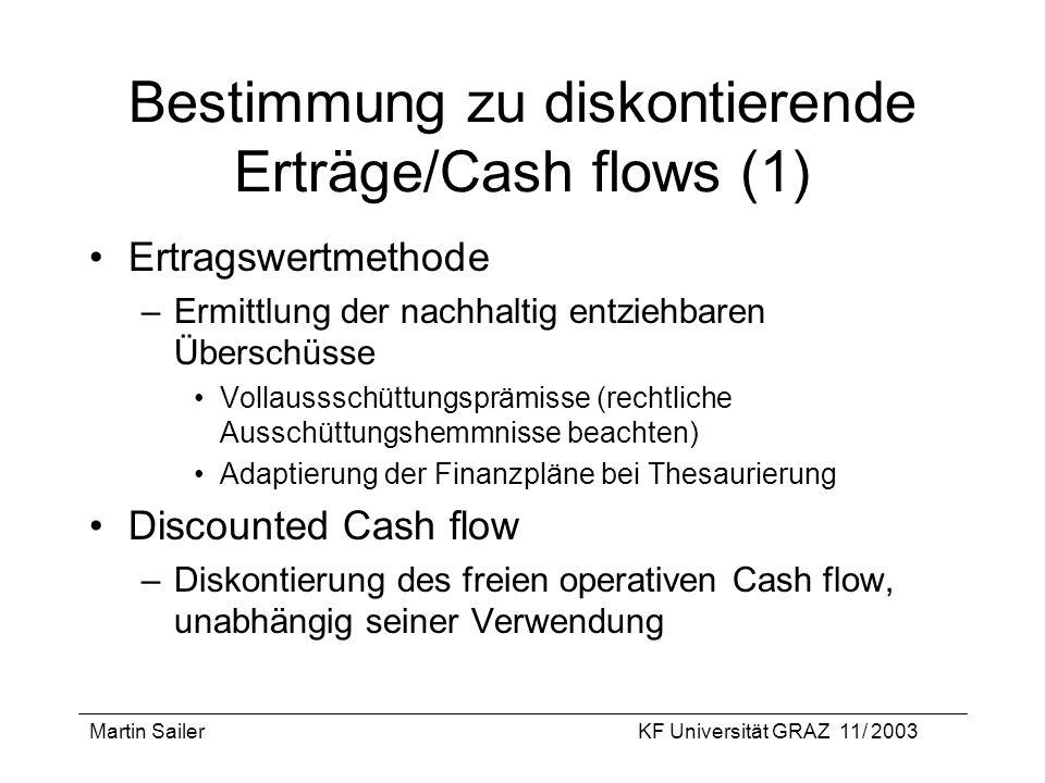 Bestimmung zu diskontierende Erträge/Cash flows (1)