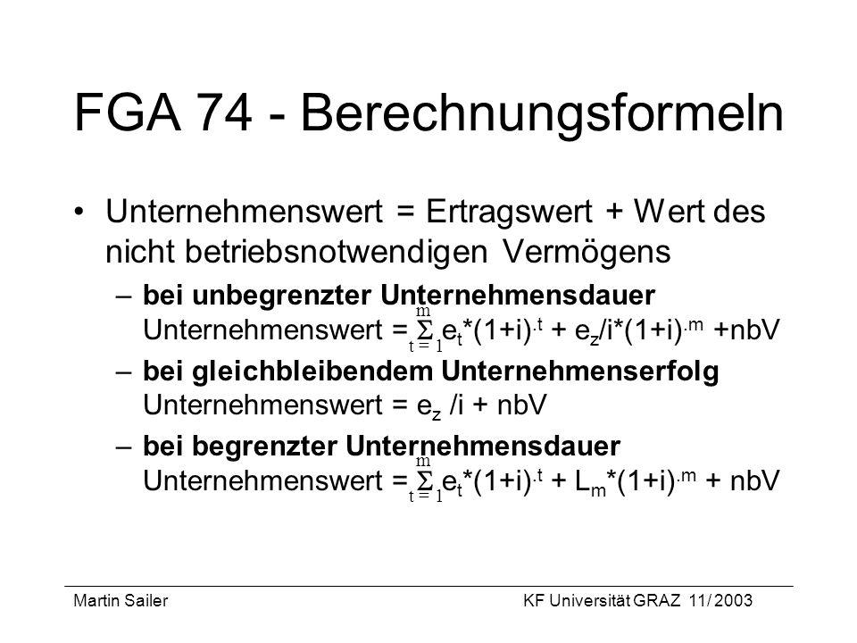 FGA 74 - Berechnungsformeln