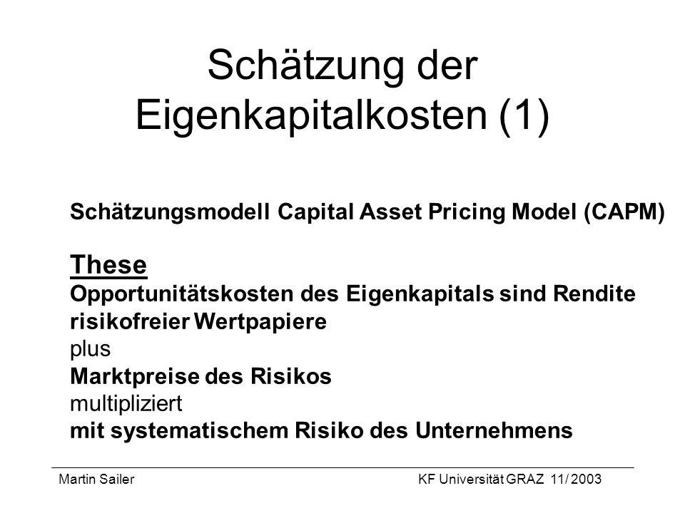 Schätzung der Eigenkapitalkosten (1)