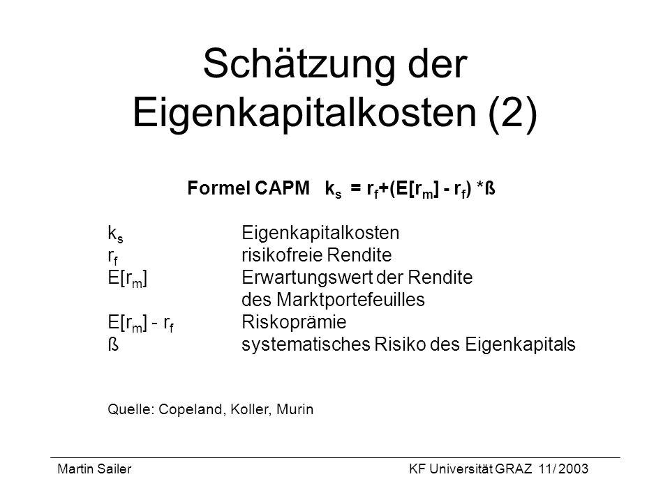 Schätzung der Eigenkapitalkosten (2)