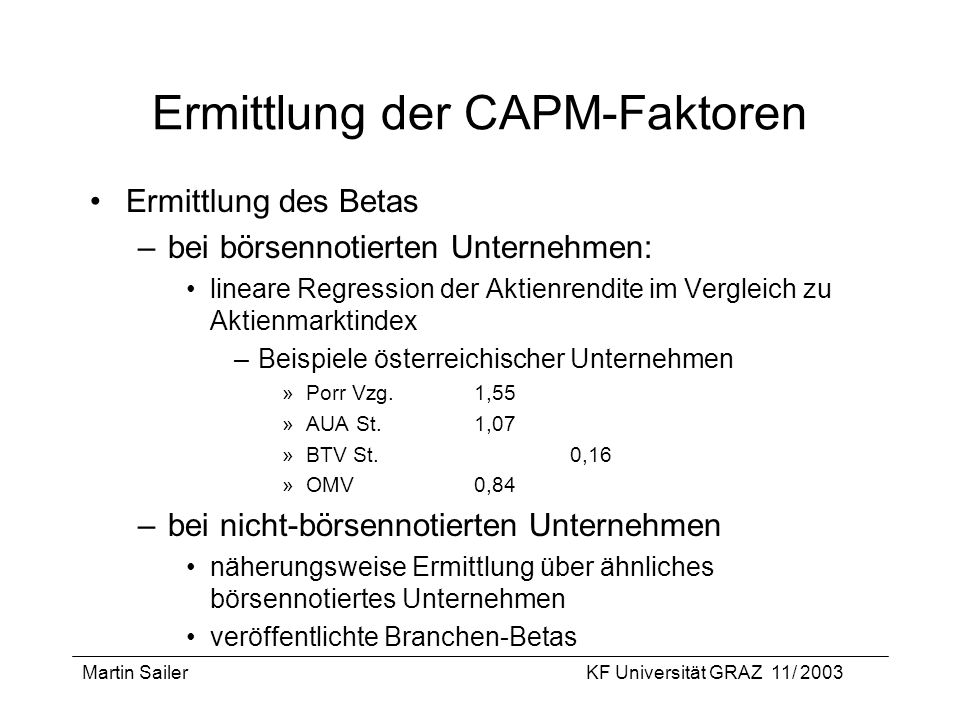 Ermittlung der CAPM-Faktoren