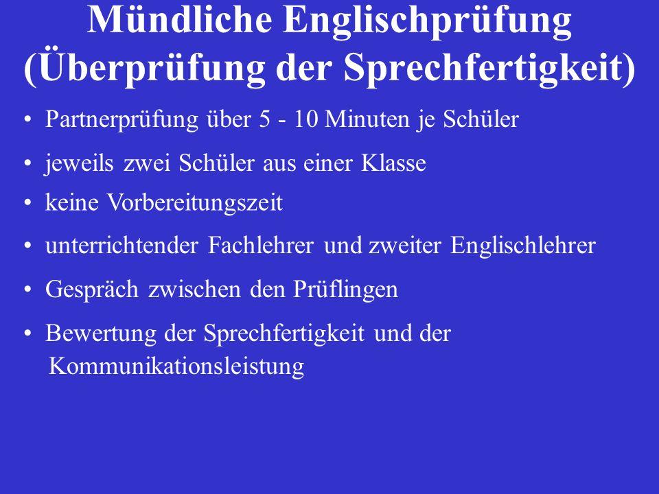 Mündliche Englischprüfung (Überprüfung der Sprechfertigkeit)