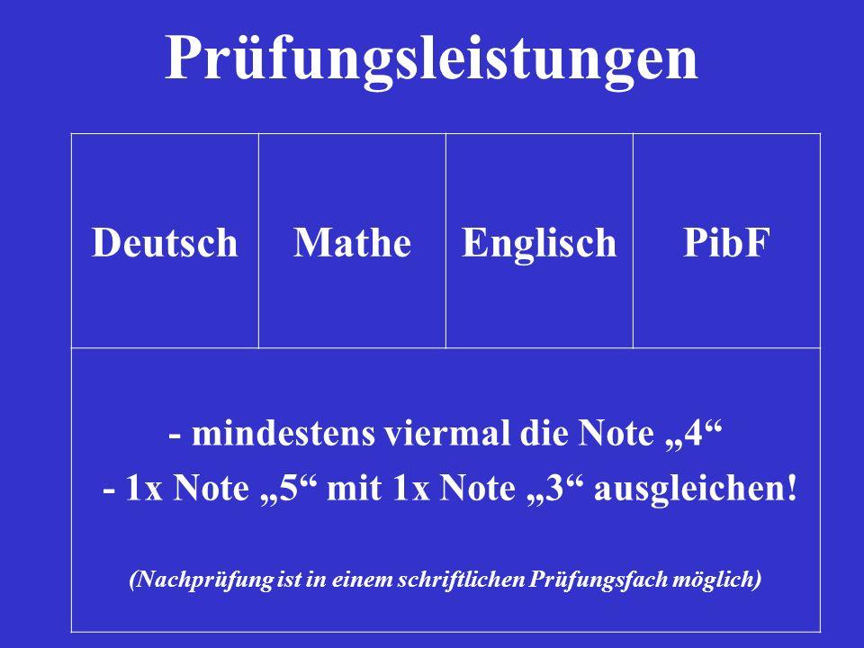 Prüfungsleistungen Deutsch Mathe Englisch PibF