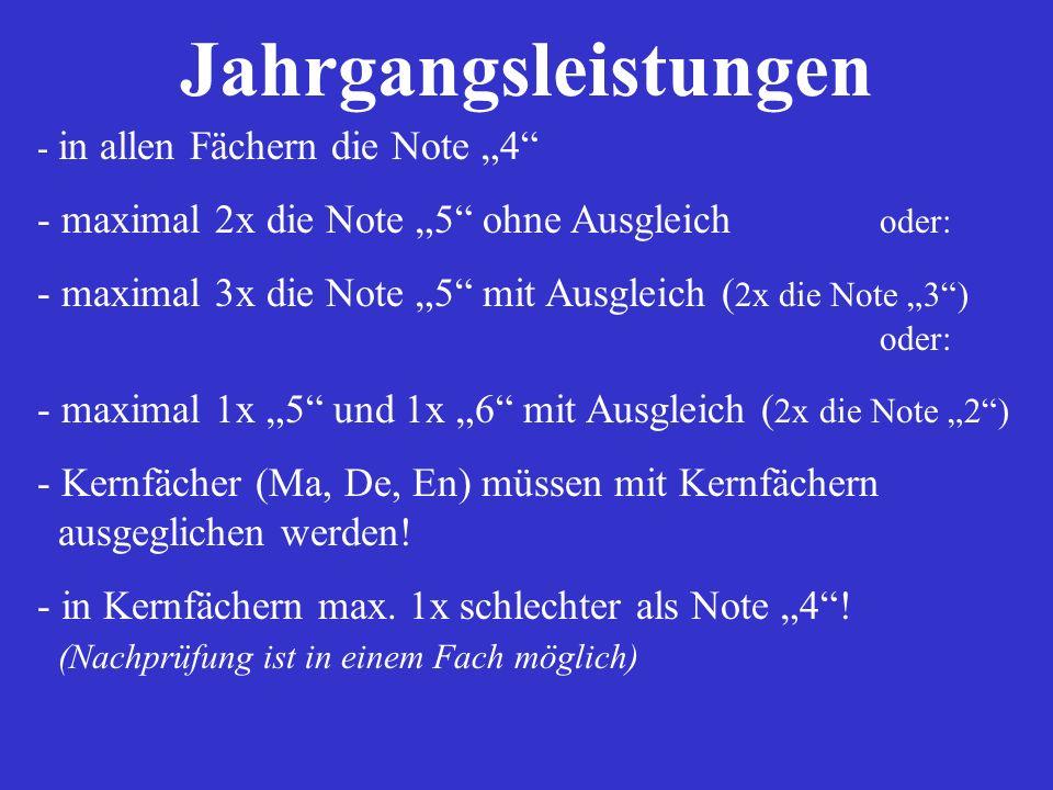 """Jahrgangsleistungen maximal 2x die Note """"5 ohne Ausgleich oder:"""