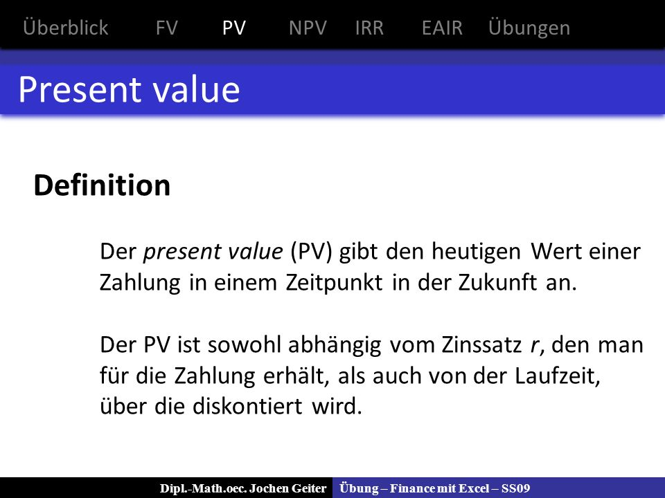 Present value Definition